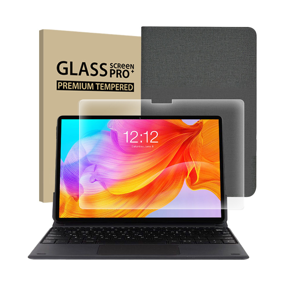 태클라스트 탭북 옥타코어 2in1 + 도킹 키보드 + 강화 유리 필름 + 커버 케이스 태블릿 PC, 그레이(케이스), M40SE-GRPACK