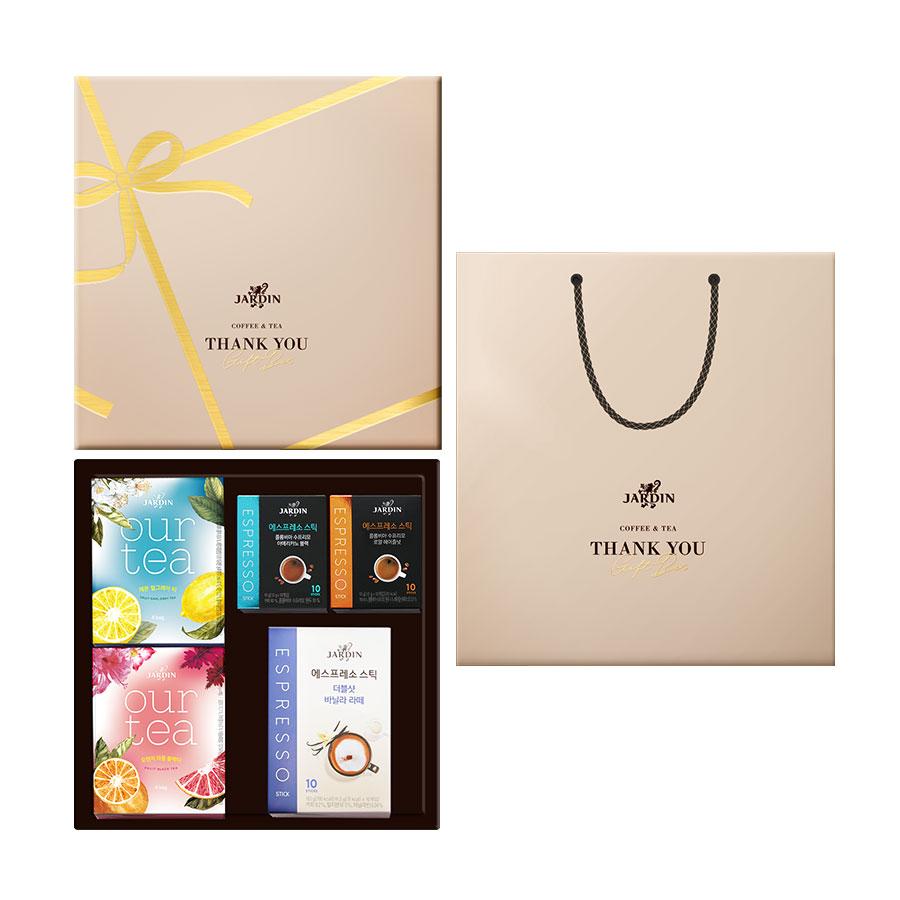 쟈뎅 감사의 마음을 담은 쟈뎅 커피앤티 선물세트, 1세트, 선물케이스 + 쇼핑백 + 아워티 4p + 에스프레소스틱 10p