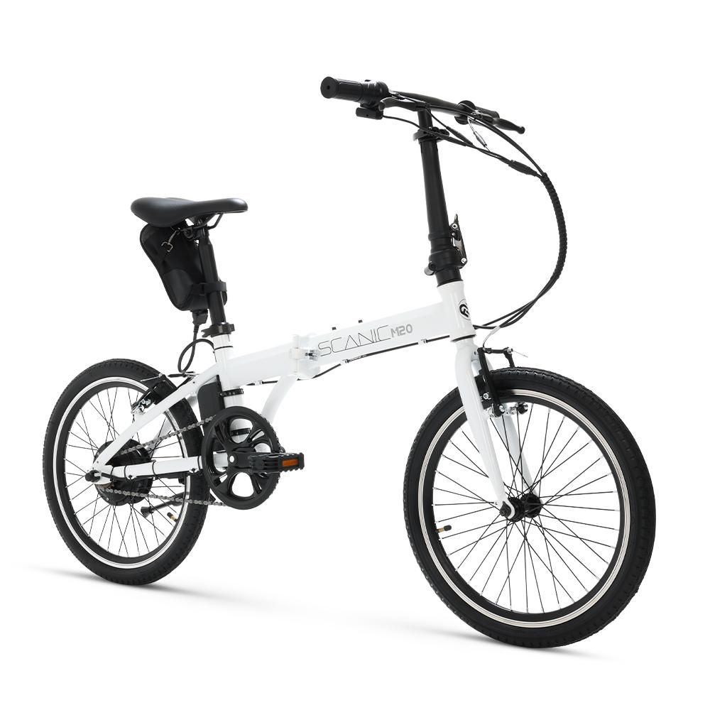 에이유테크 스카닉M20 24V 7.5A 1단 접이식 미니벨로 전기자전거, 화이트, 스틸