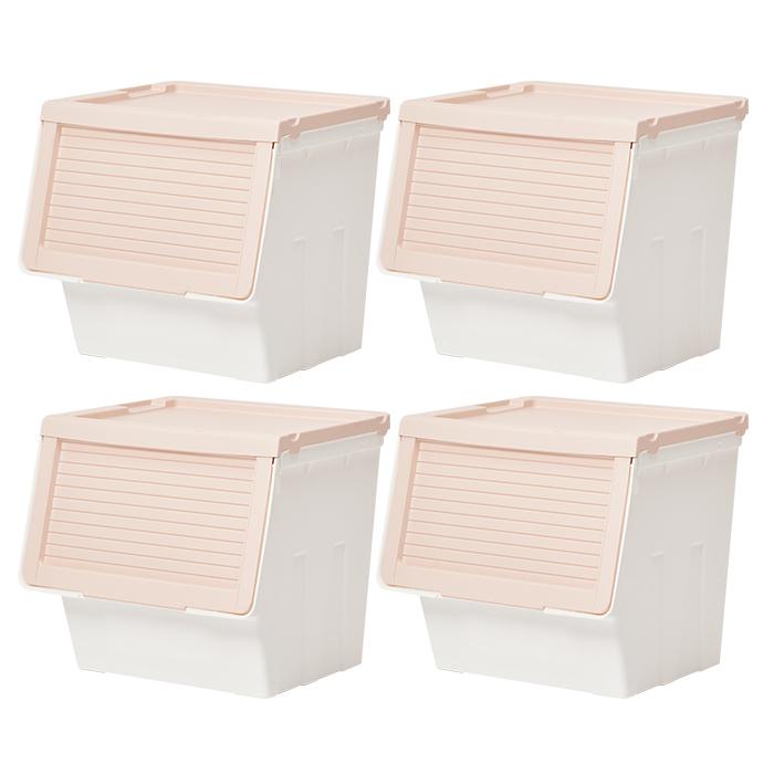 하우스레시피 피카 슬라이딩 박스 L, 핑크, 4개입