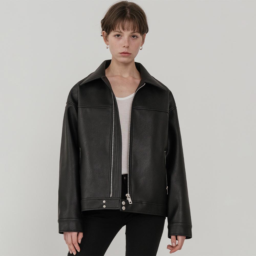 여성용 Overfit front zipper leather jacket