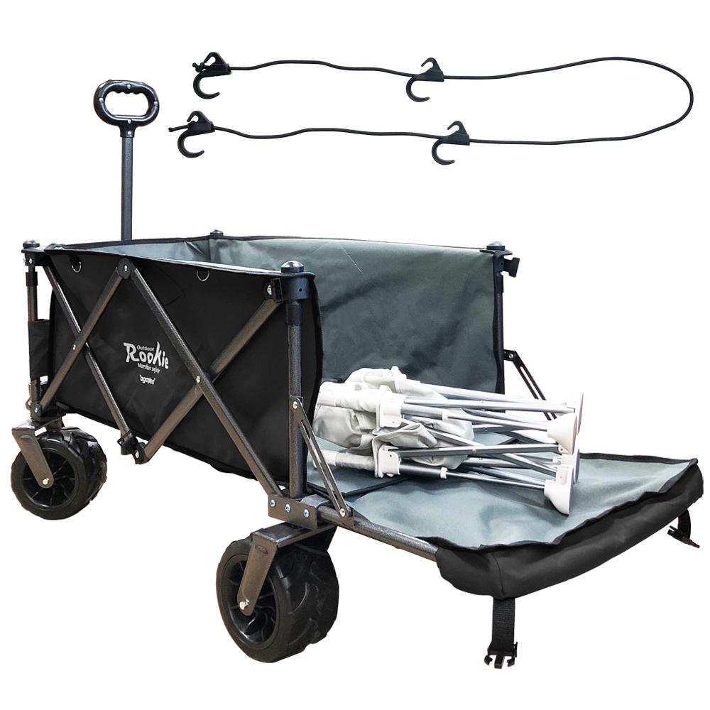 루키 몬스터 폴딩 캠핑웨건 뒷문확장형 + 고리로프, 블랙-2-4564514226