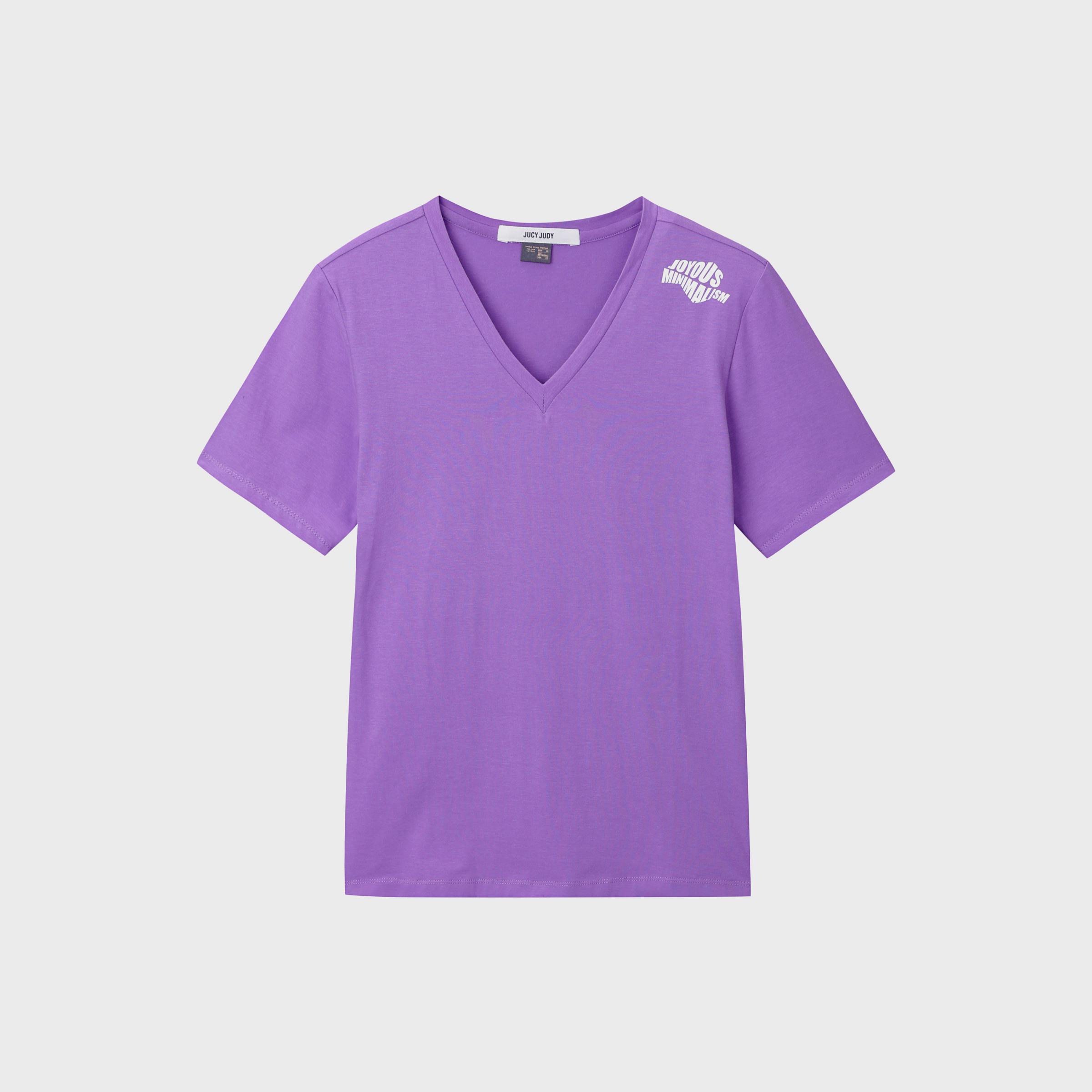 쥬시쥬디 여성용 제이 베이직 뒷프린팅 브이넥 티셔츠 JVTS326E-4-5526075797