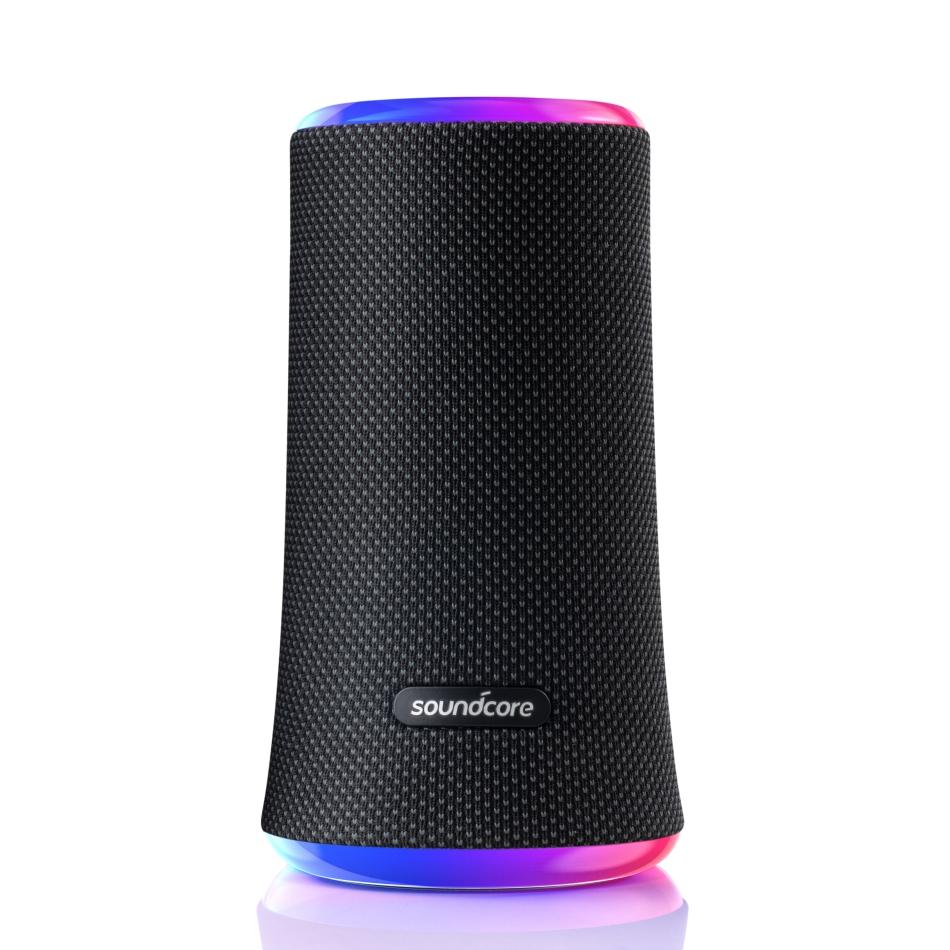 사운드코어 플레어2 360도 완전방수 LED 블루투스 스피커 A3165H11, 블랙