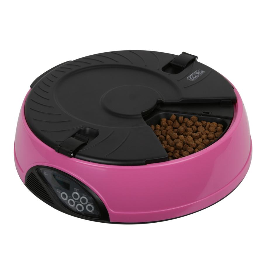 반려동물 자동급식기 6구, 1.8kg, 핑크