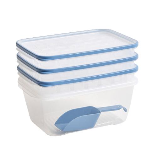 이지앤프리 아이스 메이커 얼음 트레이 3p + 보관용기 + 스푼세트, 스카이블루