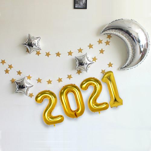 와우파티코리아 2021 달과 별 풍선세트, 골드, 1세트