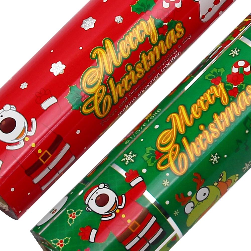 포포팬시 뽀로로 크리스마스 비닐 증착 롤 포장지 18m, 눈적색 + 녹색, 2개