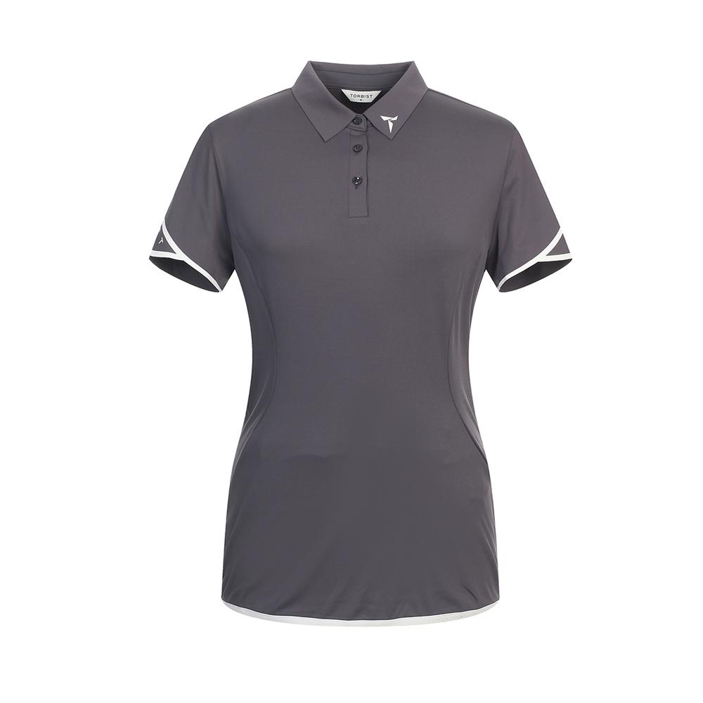 톨비스트 여성용 STEELE 로고 에리 반팔 티셔츠 GABU3-WKE570