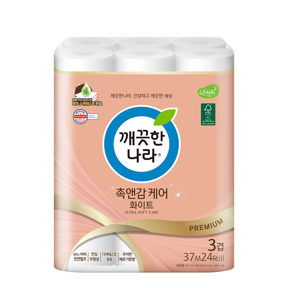 깨끗한나라 촉앤감 케어 화이트 롤화장지 37m, 1팩, 24롤