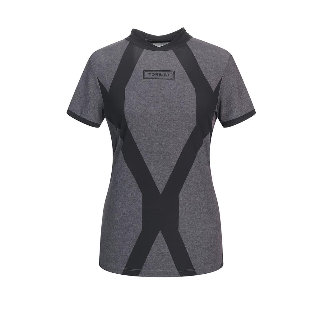 톨비스트 여성용 매쉬 기하학 하이넥 반팔 티셔츠 GABU4-WKE720