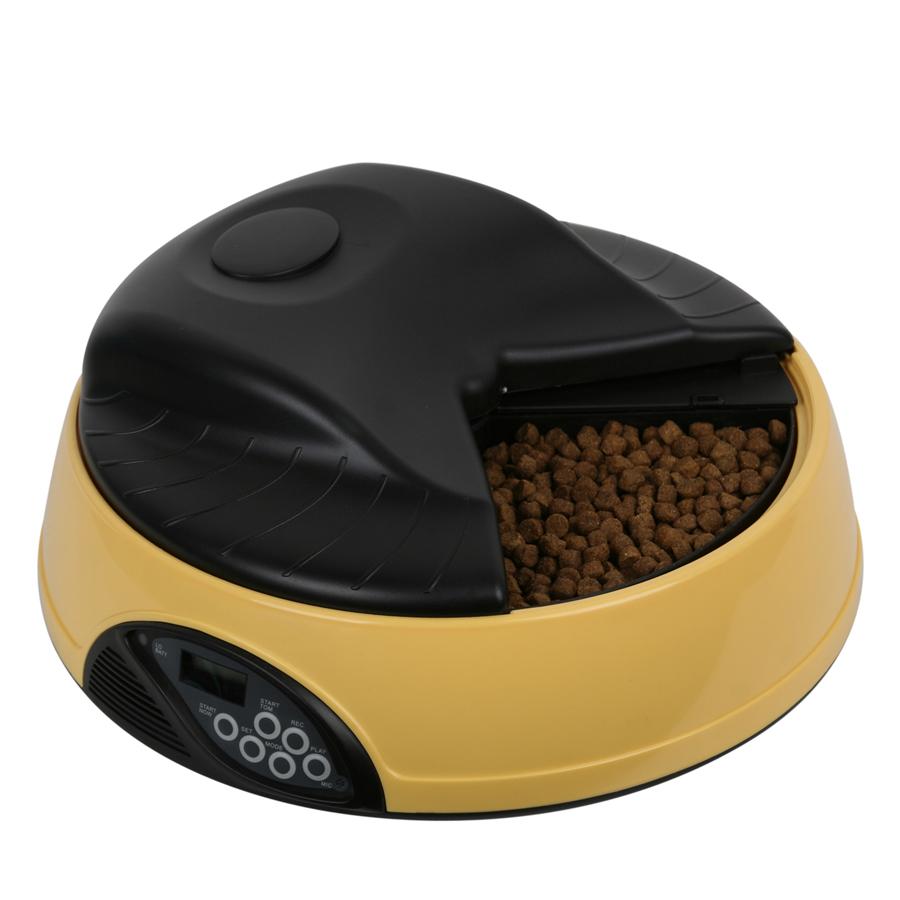 반려동물 스마트 자동 급식기 4구, 2kg, 노랑