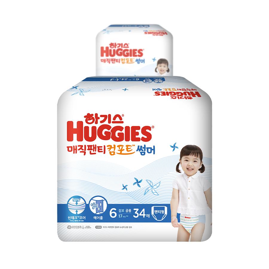 하기스 2021 매직팬티 뉴컴포트 썸머 팬티형 공용 점보형 6단계 (17kg~ ), 68매