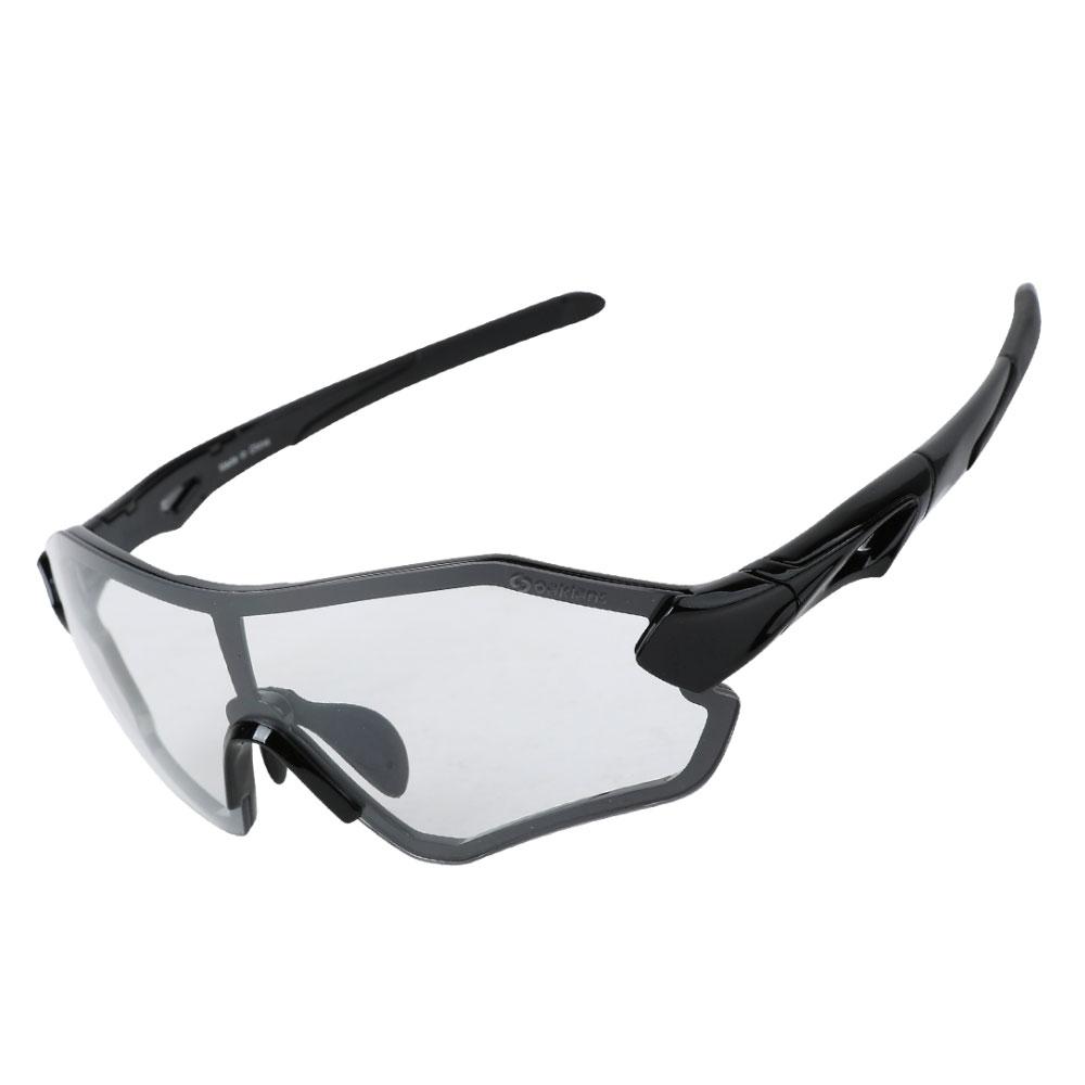 오클랜즈 변색 편광 스포츠 선글라스 QX30, 블랙프레임-변색렌즈