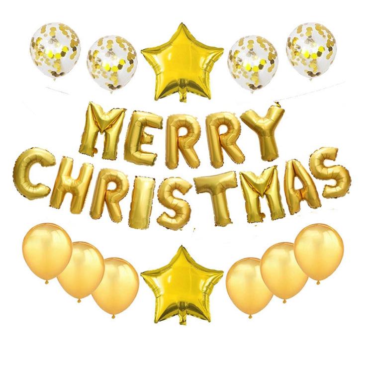 와우파티코리아 메리 크리스마스 은박풍선 세트, 골드별, 1세트
