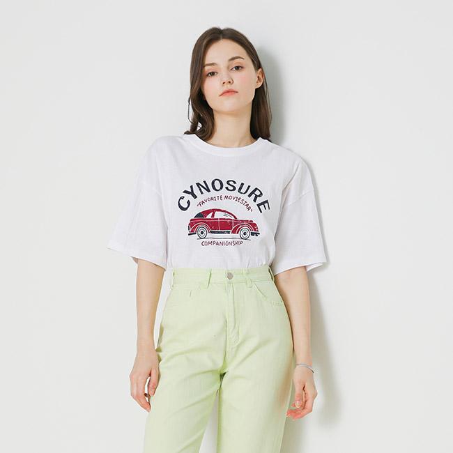 비지트엔와이스튜디오 여성용 카 모티브 티셔츠 VX4STE4