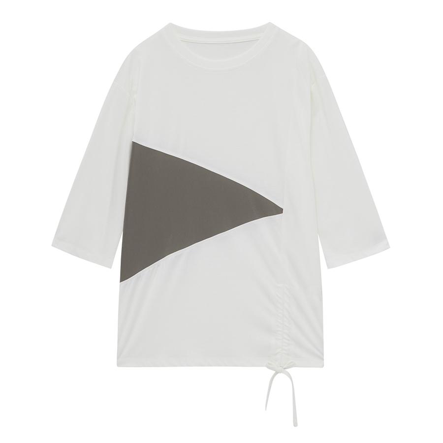 씨 여성용 세모 컬러 배색 라운드넥 티셔츠 SCIBC2809