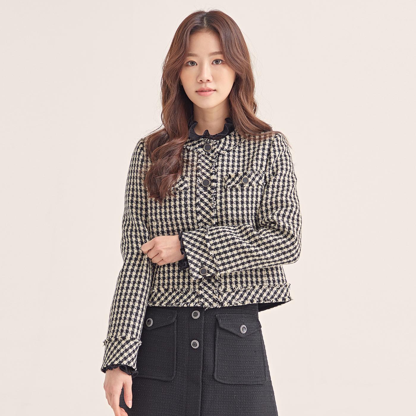 로엠 여성용 울혼방 라운드넥 클래식 트위드 자켓