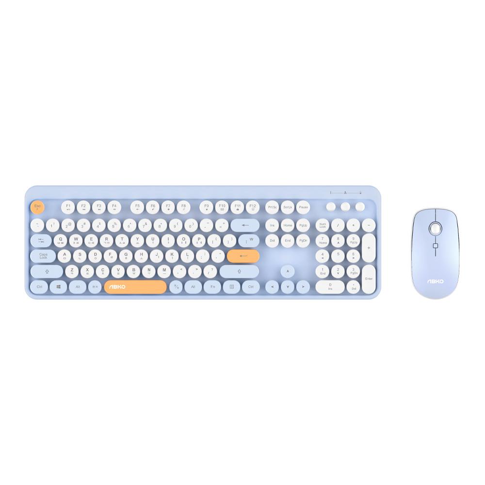 앱코 무선키보드 마우스 세트, WKM01, 블루