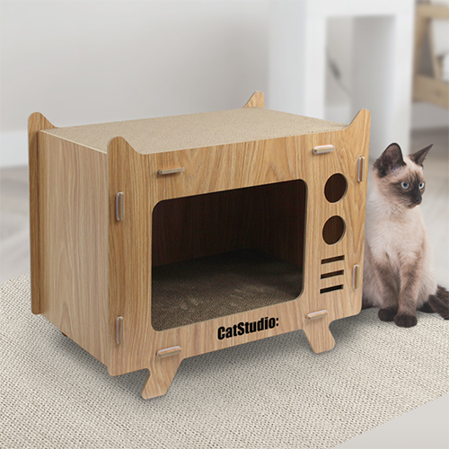 캣스튜디오 고양이 숨숨집 TV하우스 JH-2 + 캣닙 1g, 1세트