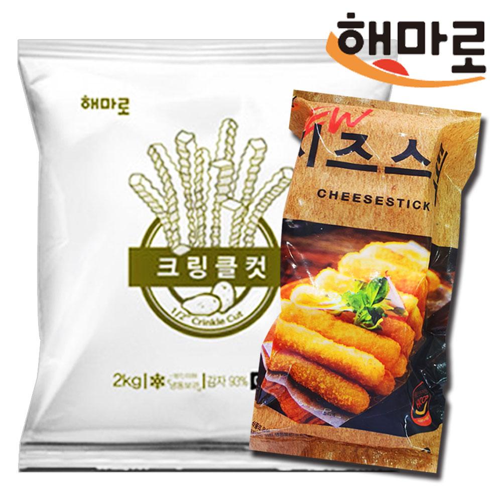 [퀴클리몰] 해마로 크링클컷 2kg + 치즈스틱 1kg, 1개