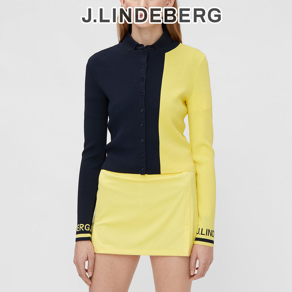 제이린드버그 골프웨어 여성 잔나 네이비 옐로우 골프 라운딩 가디건, Blue / JL Navy