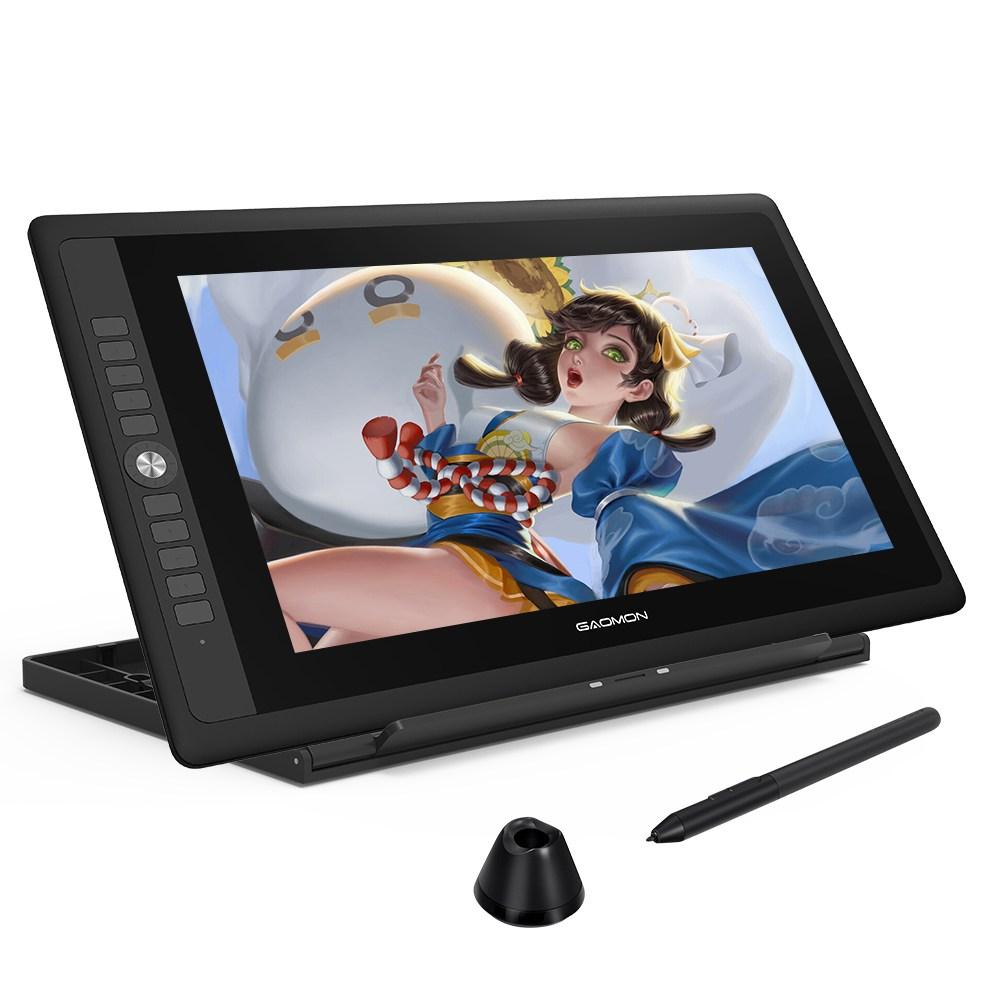 GAOMON PD156 PRO 타블렛 15.6 인치 충전 불필요한 터치펜 8192 레벨 펜압 기울기 감지 기능 액정 타블릿