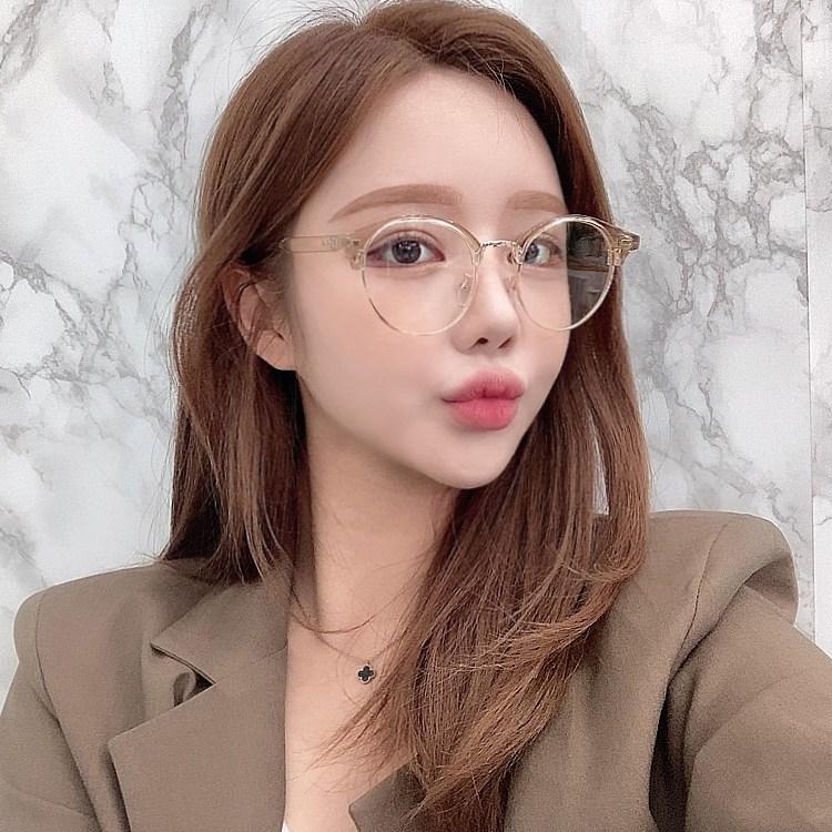 VANANA2 클리어 남녀공용 반무테 투명브라운 안경
