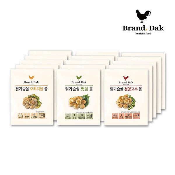 브랜드닭 닭가슴살볼 오리지널5+깻잎5+청양고추5팩, 15팩, 100g