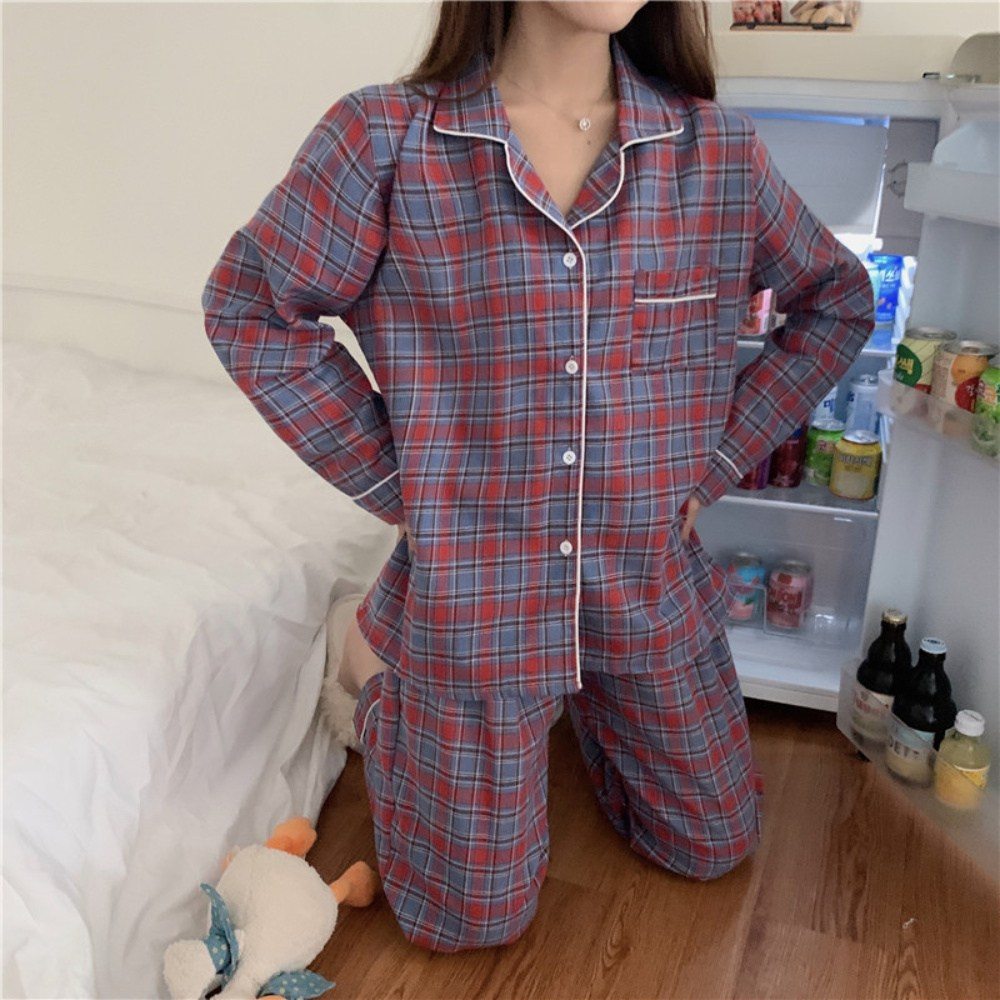 테일리 레트로 체크 여성잠옷 간절기 파자마 홈웨어