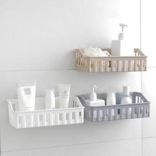접착식 플라스틱 욕실선반 주방선반, 베이지 (POP 4649026937)