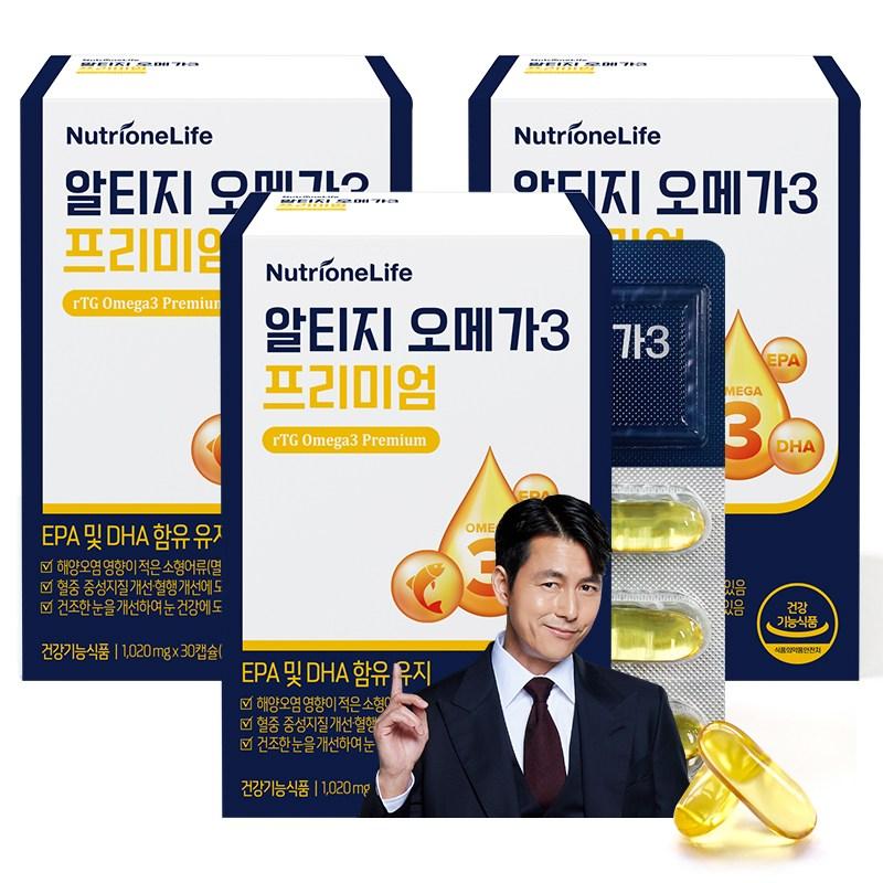 뉴트리원 혈액순환+눈 건강 순도 높은 오메가3 알티지 프리미엄 ORIVO 인증 어유 + 활력환, 3box, 30캡슐