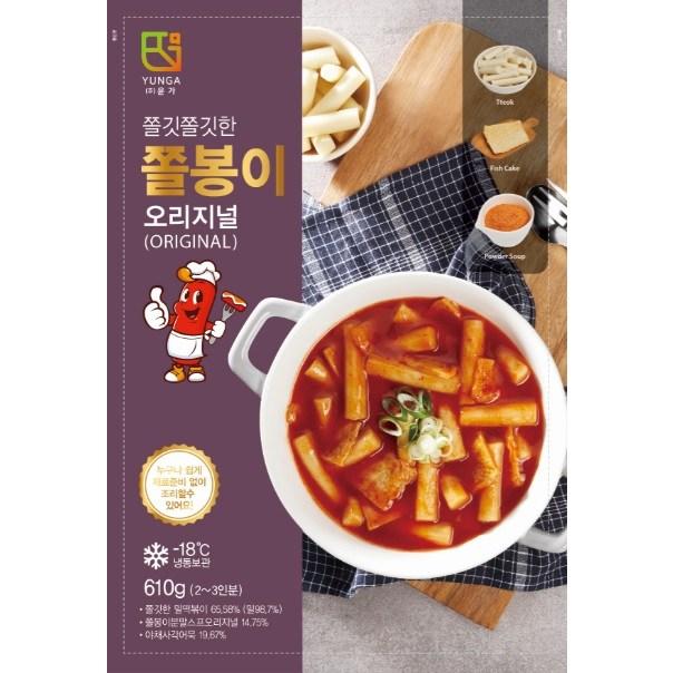 한양식품 쫄봉이 밀떡볶이 오리지널 610g (떡 200*2팩 야채어묵 60g*2팩 전용소스 45g*2팩, 오리지널(보통맛)
