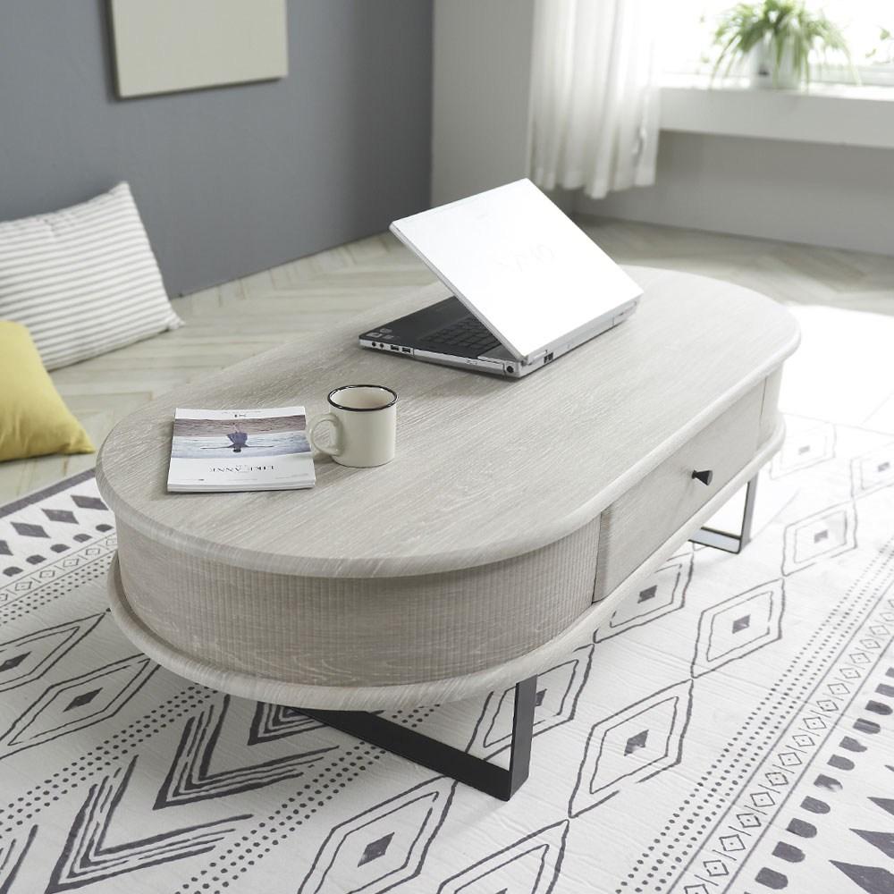 청사초롱 원형 거실 쇼파 티 테이블 4color, 워시그레이