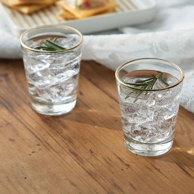 [윤홈] 럭셔리 골드라인 소주잔 4P 세트 예쁜소주잔, 1세트