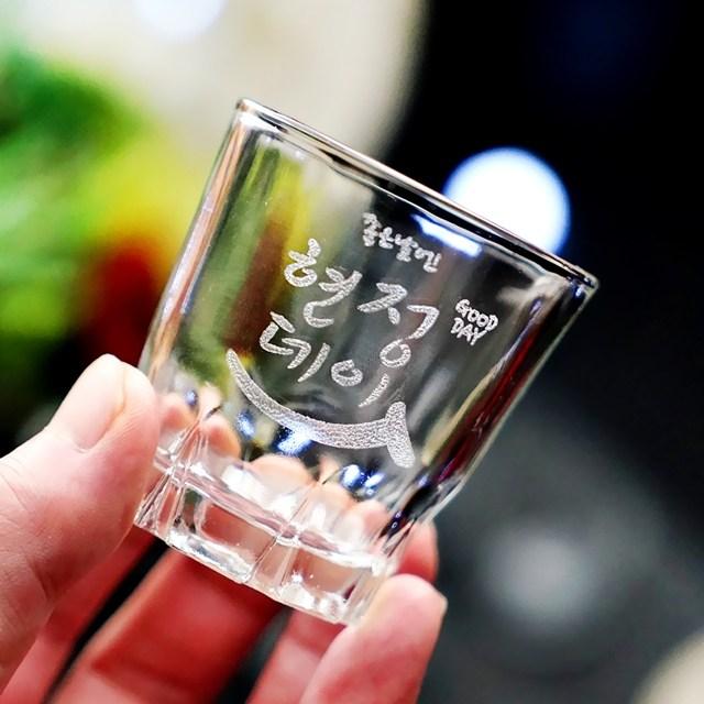 인생술잔 주문제작 각인 소주잔 4p세트 메세지 로고 각인 소량제작 개별맞춤 인생술잔 인싸템, 02-좋은데이(2~3글자)
