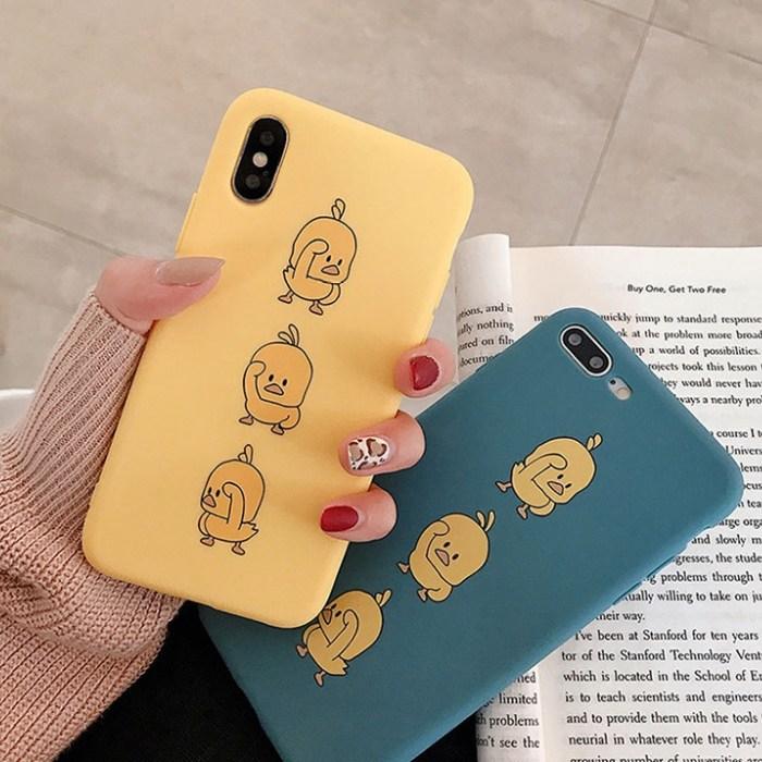 병아리 캐릭터 실리콘 아이폰 7 8 X MAX 커플 케이스