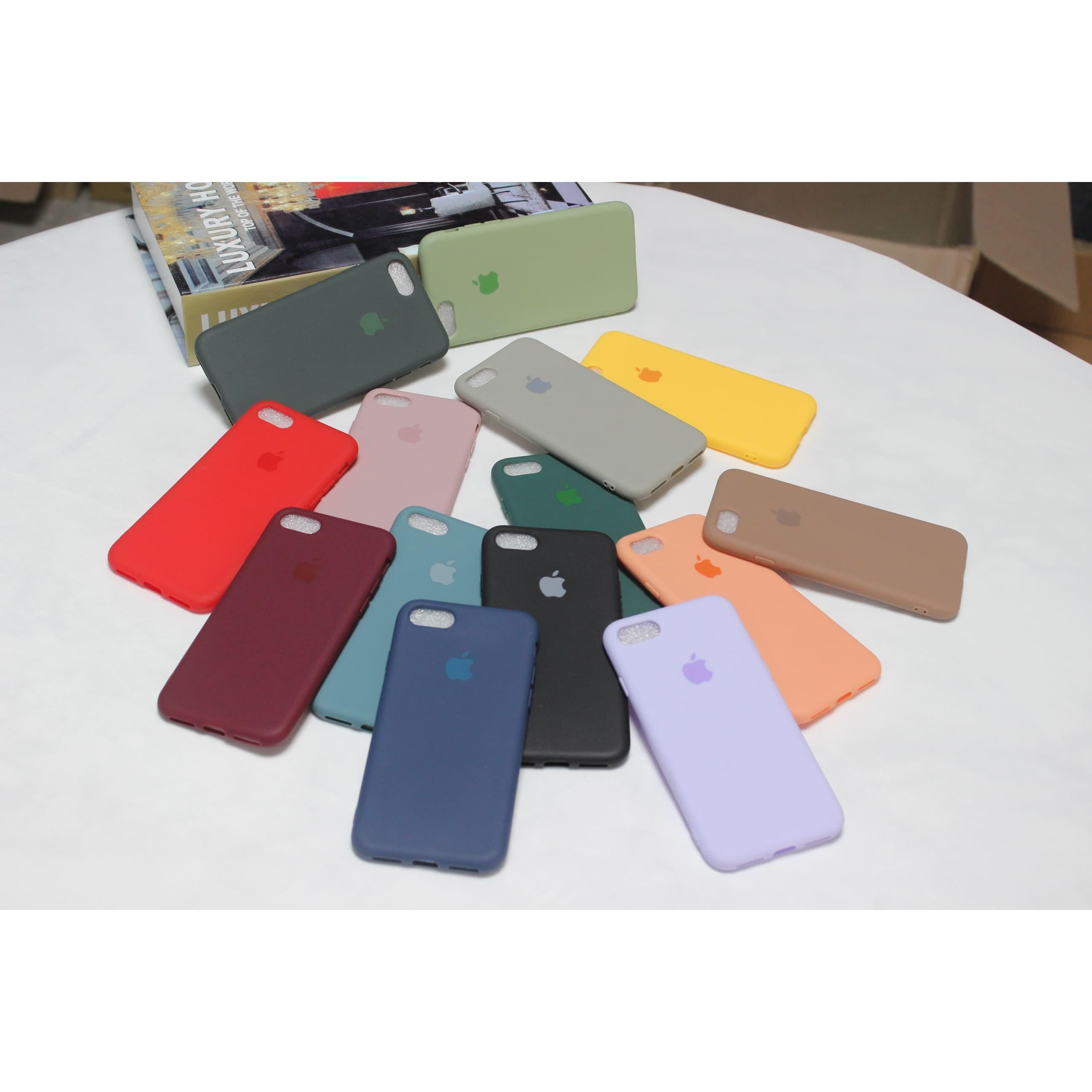 아이폰 풀커버 케이스 파스텔 실리콘 사과 로고 젤리 아이폰 7 8 플러스 X Xs Xr 11 pro max