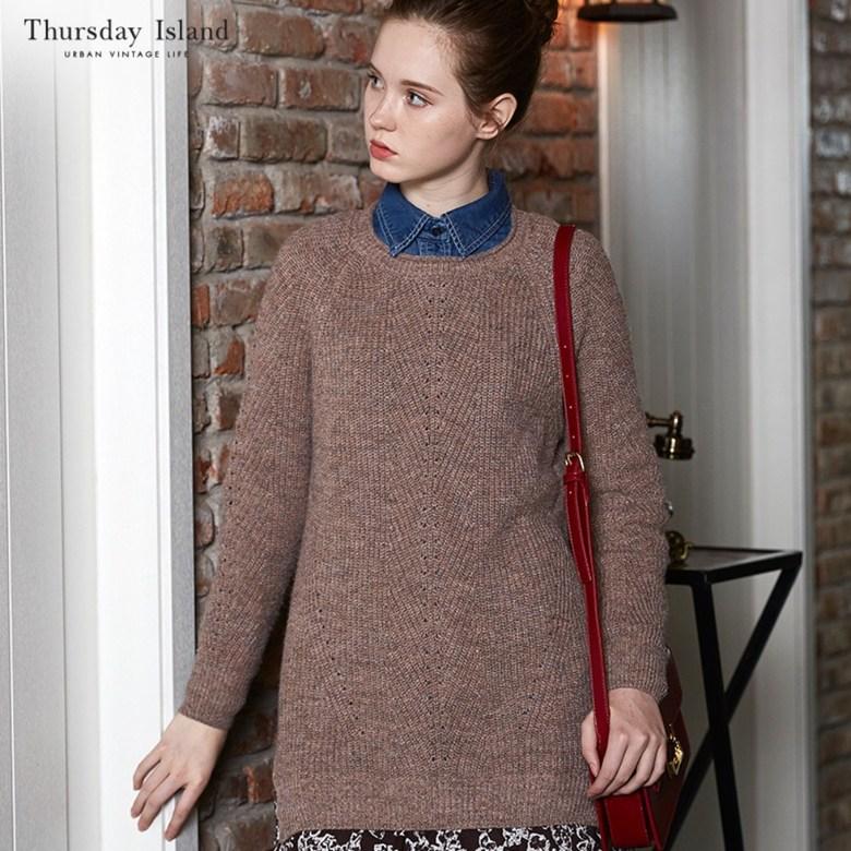 써스데이 아일랜드 여성 니트티 롱티 기본티 롱티셔츠 스웨터