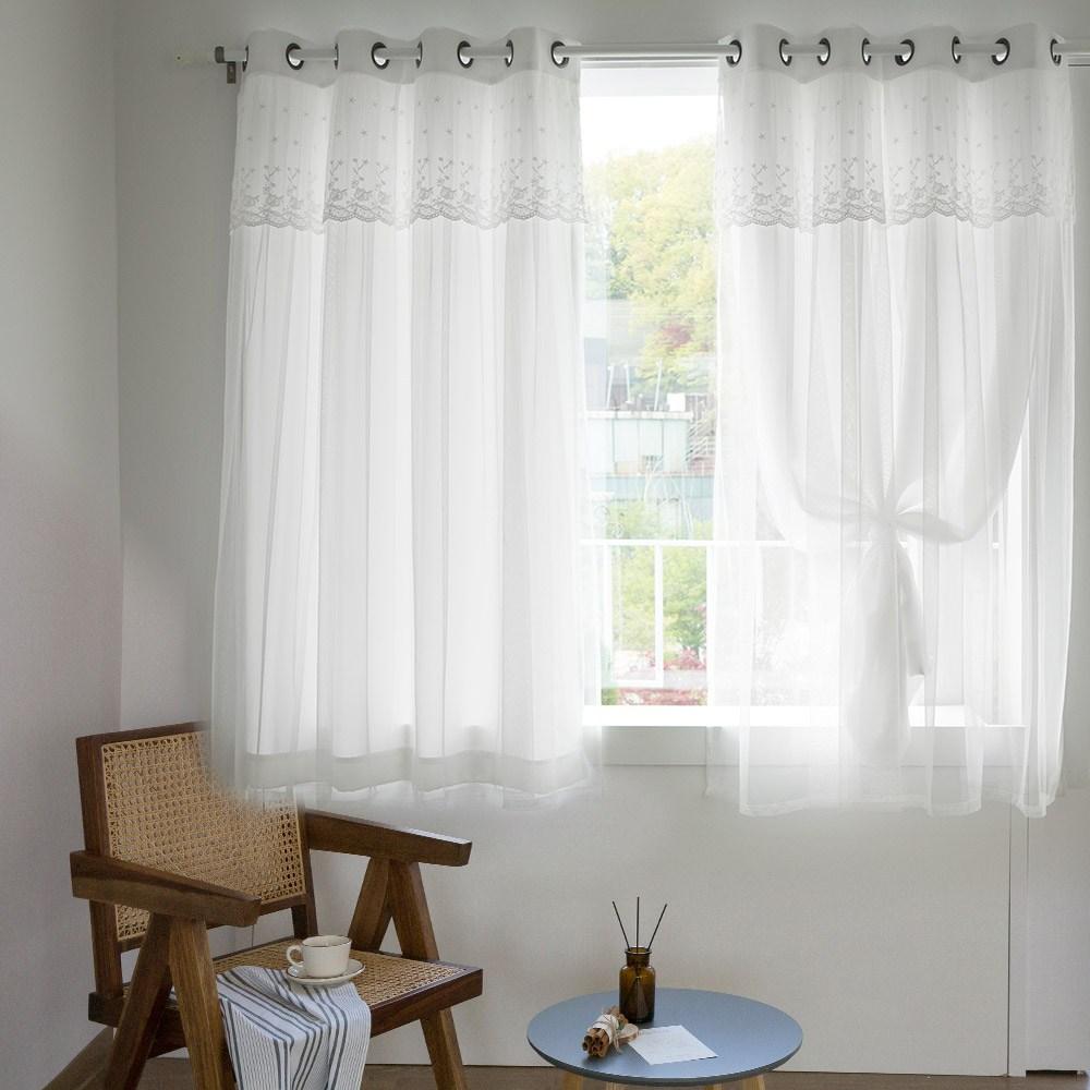 까르데코 디망쉬 암막+디망쉬 레이스커튼 창문 4장세트, Y디망쉬창문(화이트)2장+디망쉬 레이스 창문