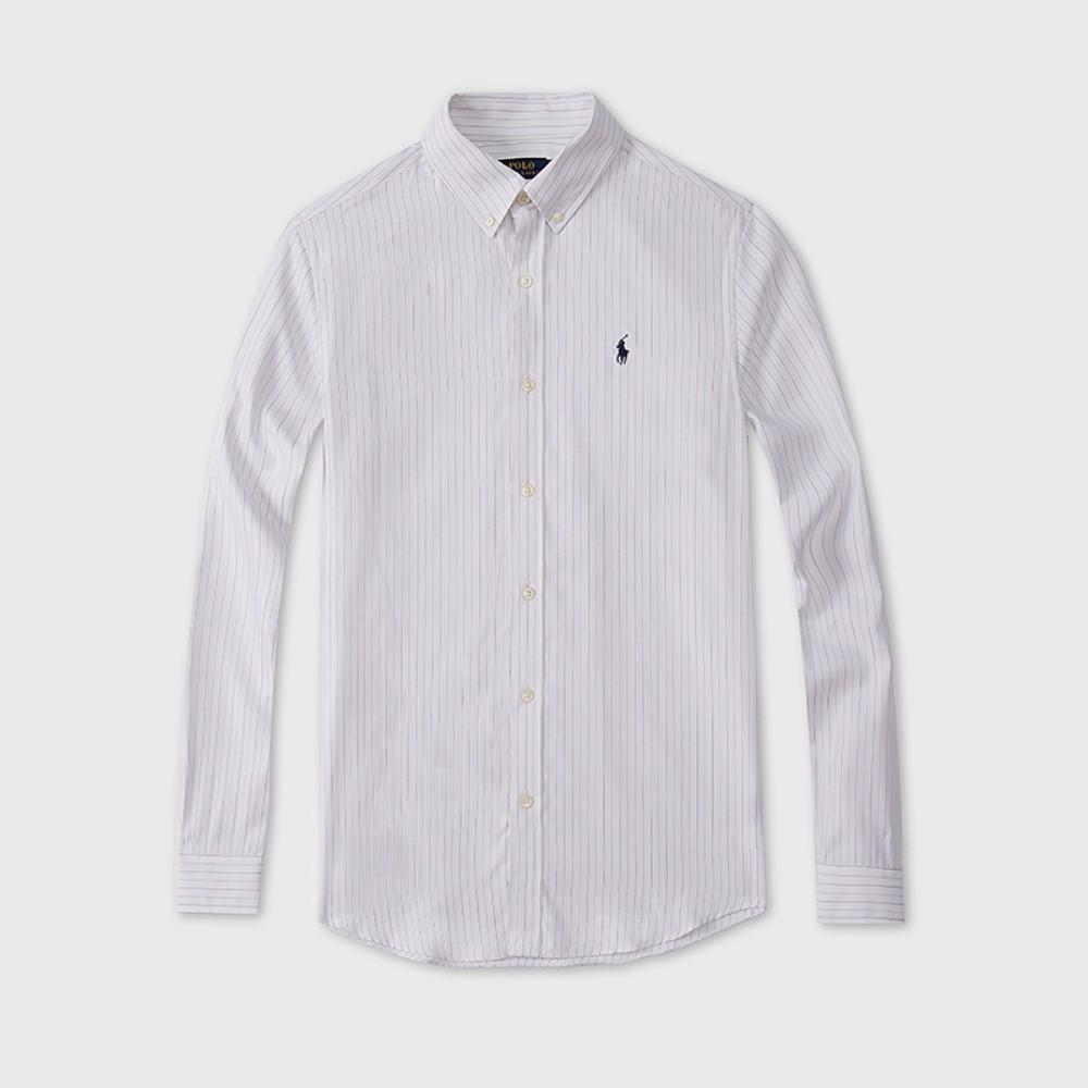 해외직구 폴로 셔츠 Classic-fit 코튼 셔츠 Urban 캐주얼 밀키 스트라이프 피케 셔츠