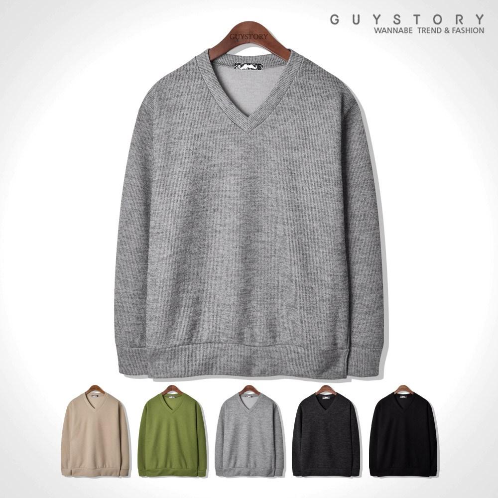 가이스토리 남자 간절기 라즈 브이넥 니트 기본 무지 남성용 스웨터