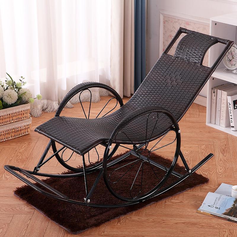 라탄 흔들 원목 의자 흔들의자, 블랙 커피색