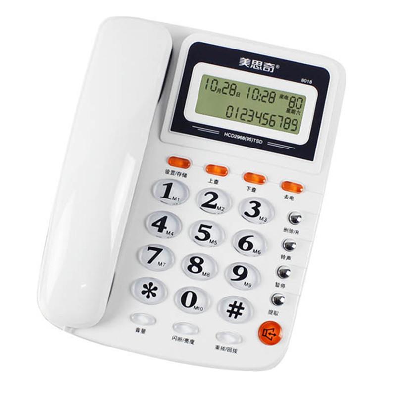 유무선전화기 전화기 8016 8018통화 디스플레이 불필요건전지 사무 유선전화 16곡 벨소리 방뢰, T03-화이트 8018 (POP 5688258973)