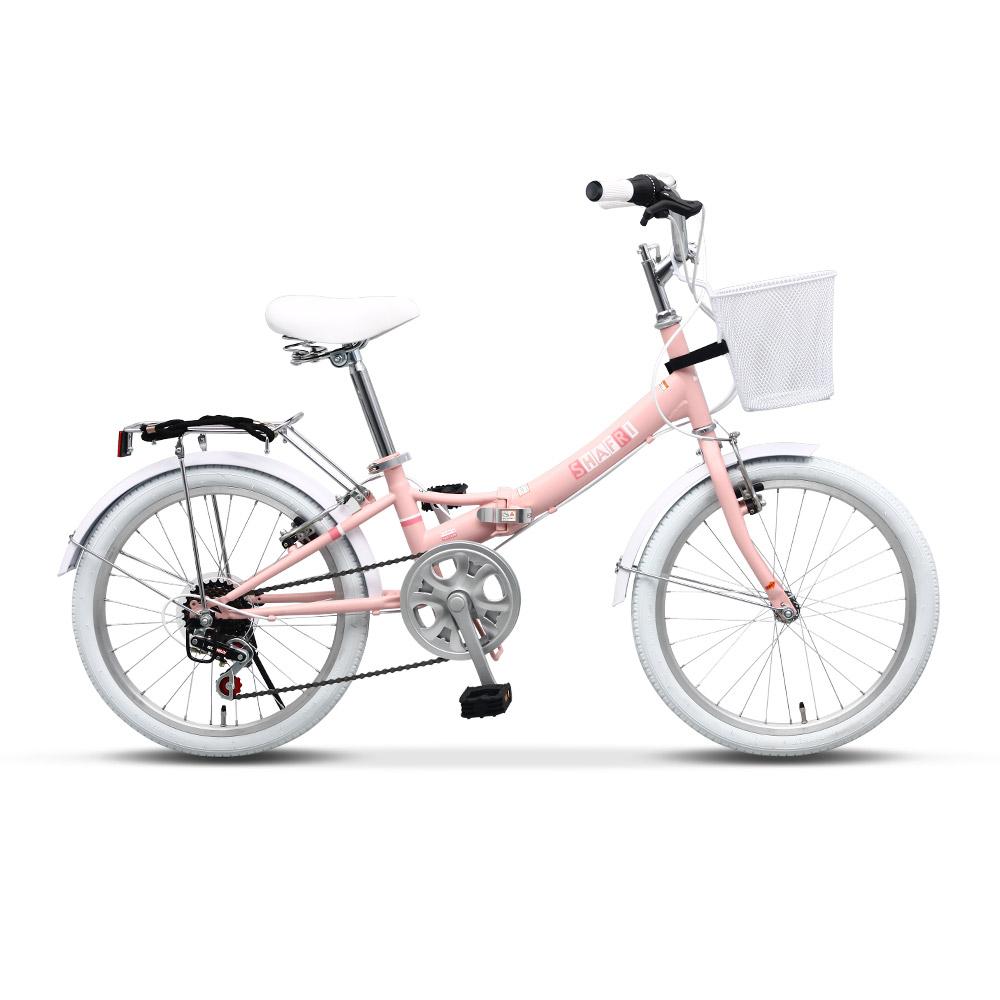 바이맥스 샤프리 핑크 자전거 미니벨로 20인치 접이식 접이형 바구니 미니 생활 접이식자전거