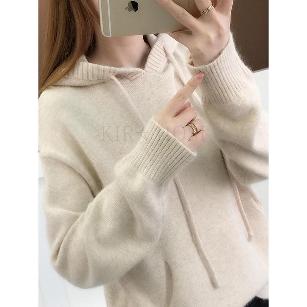 kirahosi 캐주얼 니트 후드 티셔츠 여성 스웨터 슬림 128호+ 덧신 증정 Poinsx1