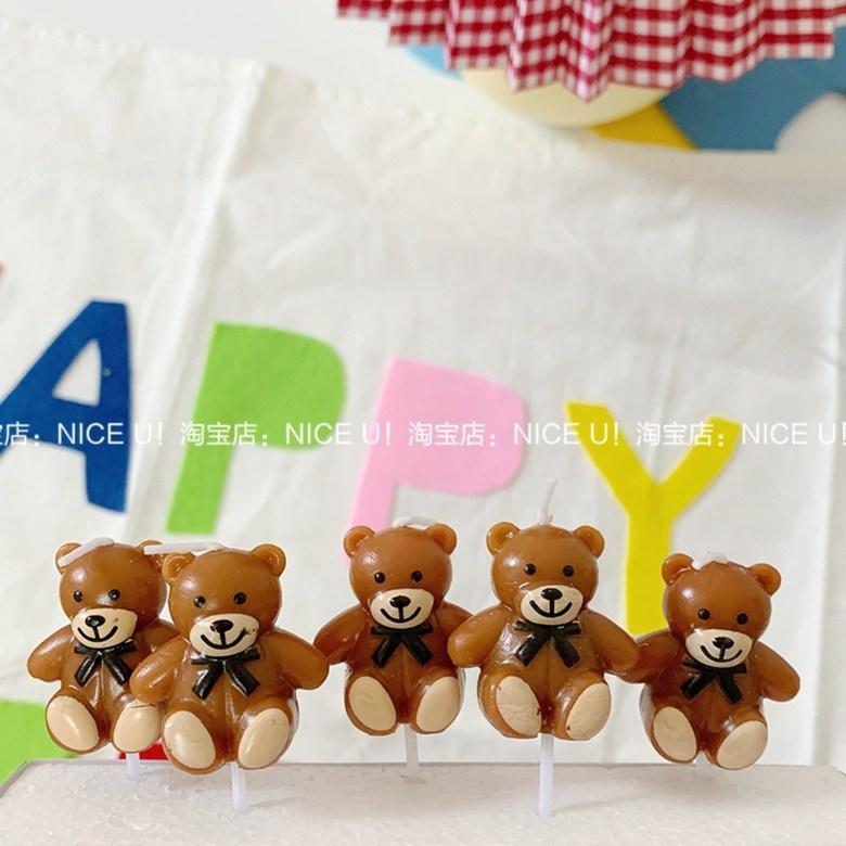 곰돌이 초 5개세트 주문케이크 장식 캐릭터 양초, 상자에 5 개