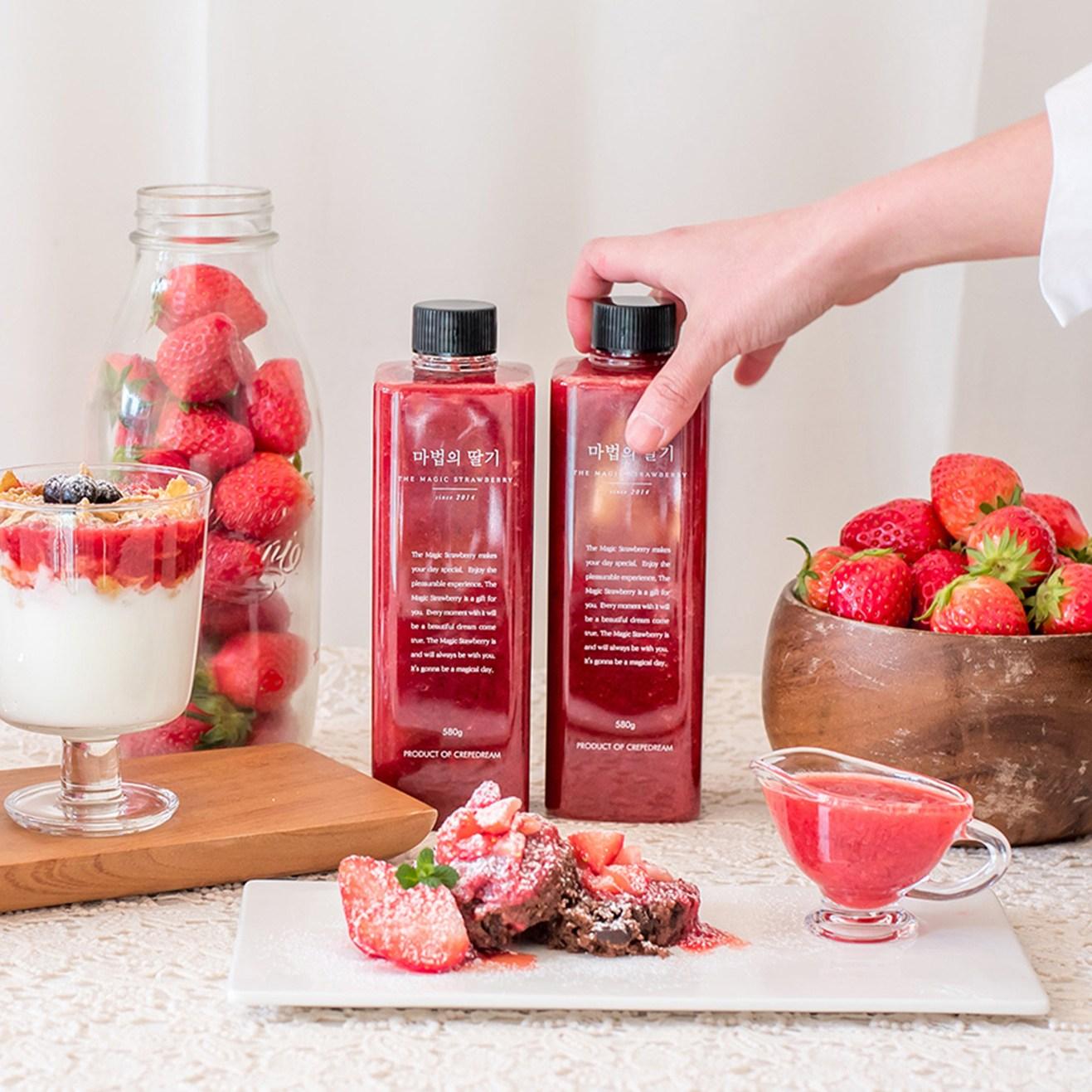 마법의딸기 580g 딸기 과일 수제 청 퓨레 시럽 라떼 에이드 주스 만들기 홈카페, 1병
