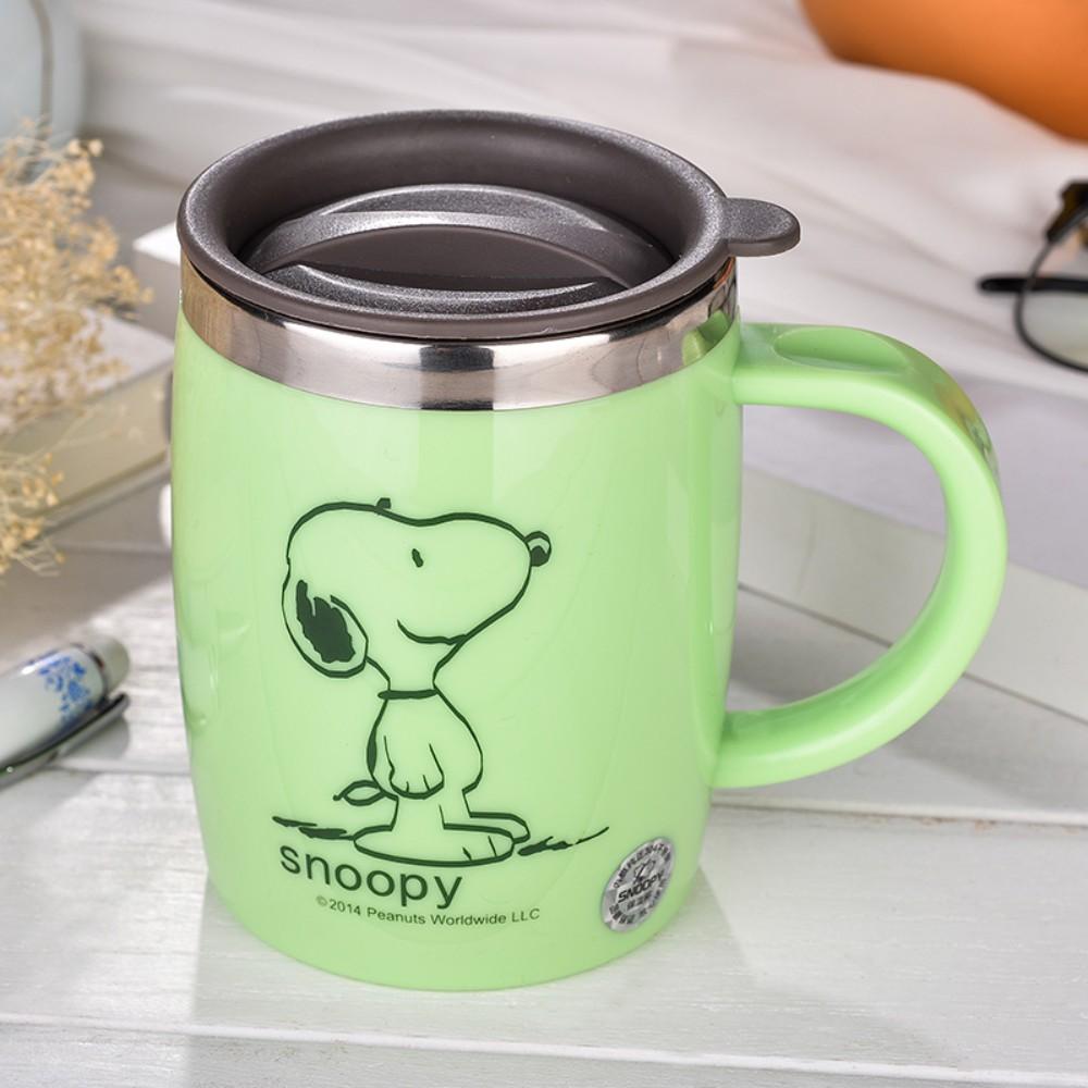 스누피 보온보냉 스댕 머그컵 캠핑 가서 쓰기좋은 안깨지는컵 스누피머그컵, 초록