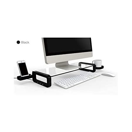 UBOARD Basic - Tempered Glass Monitor Stand Shelf Multiboard for Your PC iMac and iPhone (Black) 9, One Size, Type U- Black